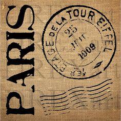 Cachet de la poste PARIS éléments - pochoir Français - pour les oreillers de toile de jute / panneaux de bois - 12 x 12-7 mil Mylar