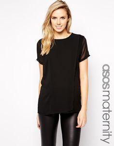 ASOS Maternity | ASOS Maternity Exclusive T-Shirt With Chiffon Overlay at ASOS