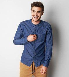 AEO Collarless Denim Button Down Shirt