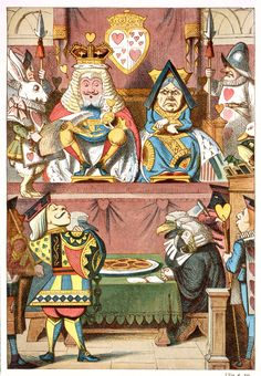 The King and Queen, illustration by Sir John Tenniel, 1865, coloured and enlarged in the Nursery Alice edition of 1890
