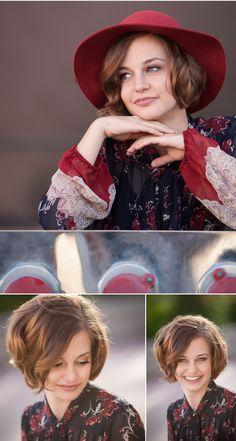 High School Senior Girl Pictures in red hat outside Denver Art Museum, with photographer Jennifer Koskinen of Merritt Portrait Studio