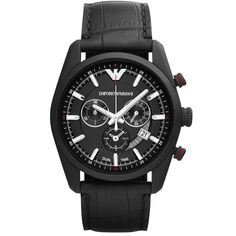 Emporio Armani Sportivo Quartz Chronograph Date Black Leather Watch (Men Watch) Diesel Watches For Men, Armani Watches For Men, Best Watches For Men, Emporio Armani, Armani Men, Modern Watches, Fine Watches, Herren Chronograph, Mens Designer Watches