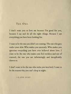Art Saturday Poetry 'The One' by Lang Leav TheAppWhisperer is part of Poem quotes - Art Saturday Poetry 'The One' by Lang Leav Poem Quotes, Words Quotes, Life Quotes, Sayings, Lang Leav Quotes, Author Quotes, Baby Quotes, The Words, Pretty Words