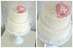 Ruffle peony wedding cake