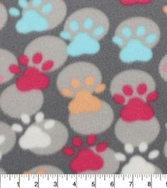 Blizzard Fleece Fabric-Multicolor Paw Prints And Dots