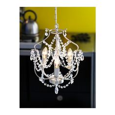 IKEA - KRISTALLER, Chandelier, silver color, glass, The height is easy to adjust by using the S-hook or cutting the chain. Ikea Chandelier, Mini Chandelier, Bathroom Chandelier, Lustre Ikea, Ikea Fans, Nursery Lighting, Artwork Lighting, Lighting Ideas, Big Girl Rooms