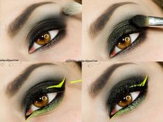 smokey eye with green and yellow accents