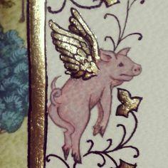 (via Whimsical Mind, Medieval Humor) Medieval Drawings, Medieval Paintings, Medieval Art, Renaissance Art, Medieval Manuscript, Illuminated Manuscript, Illuminated Letters, Book Of Hours, Flying Pig