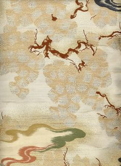 detail of uchikake, Meiji era (1868-1911). created in the Nishijin district of Kyoto, Japan. Nishijin is a very old (1200 years) and famous district of Kyoto known for fine weaving and synonymous with high quality, exquisite workmanship. Yorke Antique Textiles