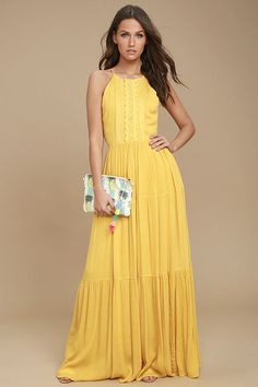 Lulus Exclusive! The For Life Golden Yellow Embroidered Maxi Dress will be the number you turn to time and time again! Crocheted lace and embroidery decorate the sleeveless bodice of this gauzy stunner, finished with a fitted waist, and tiered maxi skirt. Back keyhole with top button. Hidden side zipper/clasp.