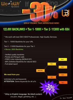 Backlinks 123000+ High Quality Tier 2. PROMO 30% OFF. More Info here: http://a.seoclerks.com/linkin/220493/Link-Building/467375/GREAT-PROMO-123-000-BACKLINKS-Tier-1-Tier-2-GSA #Backlinks #HighPRBacklinks #LinkBuilding