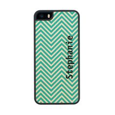 Blue Chevron Wooden Cellphone Case Maple iPhone 5 Case