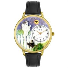 Whimsical Unisex Halloween Ghost Black Skin Leather Watch.  Our Halloween Ghost Watch in Gold or Silver makes a unique holiday gift.  Buy one for yourself to recharge your Halloween spirit whenever you check the time. The Halloween Ghost Watch also makes a great gift for ghost enthusiasts. #ghost #watch #halloween #gift