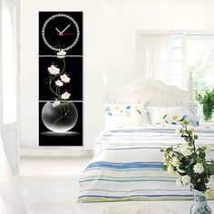 +Modern+Style+Pink+Floral+Wall+Clock+in+Canvas+3pcs+–+USD+$+53.99