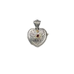 Gerochristo Jewelry Heart locket pendant in Sterling silver, gold 18k and ruby.