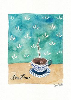 Tea Time Print of original watercolor painting,  tea cup on a table, Still life, shabby chic, retro, kitchen art, mothers day