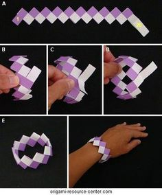 This variation of the classic bubble gum wrapper chain uses a quarter as much paper and can be done in a half as much folding.Cut strips of paper of varying color. Paper used here is ½ inch wide and 4¼ inch long.
