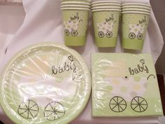 Soft green baby shower paper plate, cup and napkin set - baby shower supplies - baby shower decorations - baby boy/baby girl party set. $12.00, via Etsy.