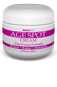 MagniLife AGE SPOT CREAM by Age Spot Cream. $16.99. MagniLife AGE SPOT CREAM   2 oz. jar  Non-Greasy Formula  Renew - Repair - Diminish   MagniLife Age Spot Cream uses natural botanicals instead of harsh chemicals to gradually fade age spots, freckles, and other age-associated discolorations.  Quick absorbing and non-greasy, it contains licorice root extract, bearberry extract, and other ingredients that work safely and gently to diminish age spots and even out skin tone. ...