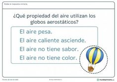 Ficha de propiedades del aire para primaria
