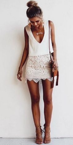 Women's fashion | Deep V cleavage on white top with crochet skirt