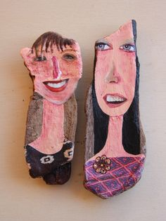'People 3'. Acrylic and collage on cork oak driftwood from Spanish coast. Ginny Rose 2015.
