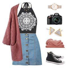 """Celeste"" by brie-the-pixie ❤ liked on Polyvore featuring Boohoo, Converse, Chicwish, Sheridan, Nikon and ROSEFIELD"