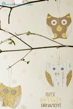 Remodelando la Casa: DIY Paper Owl Ornaments