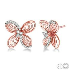 1/4 Ctw Round Cut Diamond Earrings in 14K Rose/Pink and White Gold