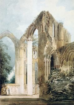 Thomas Girtin Interior of Fountains Abbey: the East Window Watercolor and pencil on paper Watercolor Landscape, Landscape Art, Landscape Paintings, Landscapes, Building Painting, Building Art, Buildings Artwork, List Of Paintings, Architectural Sculpture