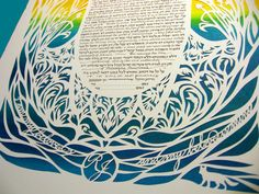 Traditional Hamsa Papercut Ketubah with Fox   wedding by jerise, $500.00