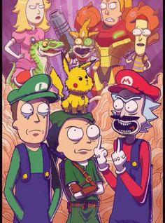 Working on a slew of new prints for an upcoming show, the Long Island Retro Games Expo Here's my Mike Vasquez's and my Rick and Morty meets Smash . COLLAB PRINT - Rick and Morty Meet Smash Bros Cartoon Kunst, Cartoon Art, Super Smash Bros, Cartoon Wallpaper, Crazy Wallpaper, Rick And Morty Crossover, Rick Und Morty, Ricky Y Morty, Image Zelda