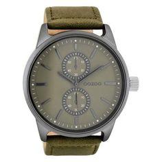 Herrenuhr mit grünem Lederarmband.  https://www.uhrcenter.de/uhren/oozoo/timepieces/oozoo-herren-armbanduhr-gruen-c7837/