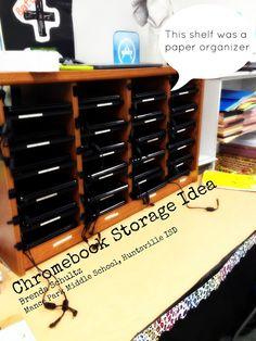 Chromebook storage idea: paper (literature) organizer, classroom mailbox