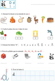 Le son d Learning French For Kids, Teaching French, French Language Lessons, French Lessons, Kids Writing, Writing Practice, French Alphabet, French Course, 1st Grade Math Worksheets