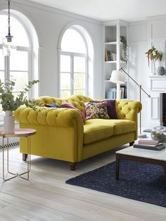 Sunny side up: 5 ways to work the mellow yellow trend into your home Living Room Sofa, Home Living Room, Interior Design Living Room, Living Room Furniture, Living Room Designs, Living Room Decor, Living Area, Dfs Sofa, Wingback Chair
