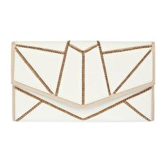 Fabulous White geometric chain clutch bag ($30) ❤ liked on Polyvore