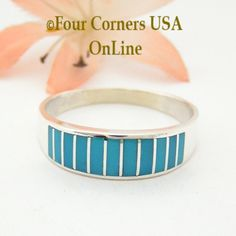 Four Corners USA Online - Size 13 Turquoise Inlay Wedding Band Ring Ella Cowboy WB-1601, $135.00 (http://stores.fourcornersusaonline.com/size-13-turquoise-inlay-wedding-band-ring-ella-cowboy-wb-1601/)
