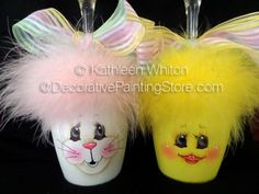 The Decorative Painting Store: Easter Wine Glass Candleholders - Kathleen Whiton - BY DOWNLOAD, Kathleen Whiton Patterns
