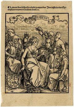 St Elizabeth spinning; seated surrounded by five women of various ages, at bottom left the coat of arms of the landgraves of Thuringia. Fol. Lv of Johann Geiler von Kaisersberg, 'Das Buch Granatapfel...', Strasbourg: Johann Knoblouch, 1511. c.1511 Woodcut. Engraver: Hans Burgkmair (?),  (Augsburg, 1473 - c., 1531)