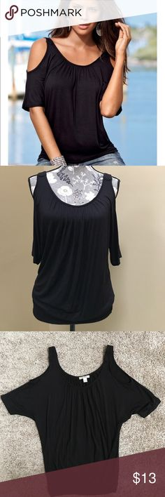 """Boston Proper Cold Shoulder Top Boston Proper Cold Shoulder Black  Top size XS. Excellent preloved condition. Banded waist. 93% rayon and 7% spandex. Great staple for your closet. Approximately 20.5"""" from underarm to underarm and 26"""" long. Has stretch to it. Boston Proper Tops"""