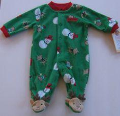 Just One You Christmas Fleece Romper Footed Reindeer Newborn #CartersJustOneYou #OnePiece