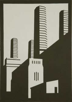 Buy a linocut print Greenwich Black from a ltd edition of 75 prints by British printmaker Paul Catherall. For Arts Sake - art prints online. Art Deco, Art Nouveau, Building Drawing, Art Prints Online, Architectural Prints, Monochrom, London Art, Linocut Prints, Tattoos
