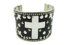 Western Goth Rockabilly Cross and Metal Studded Cuff Bracelet