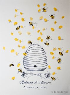 Honey Bee Hive with thumbprint bees, Guest book fingerprint alternative art (with 1 ink pad) by bleudetoi on Etsy (null)