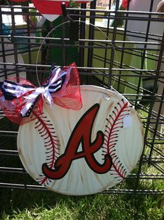 Wood Baseball/Softball Door Hanger by SewStickyDesigns on Etsy, $30.00
