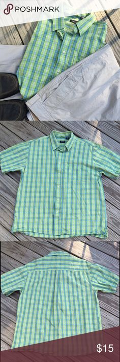 ✨BOGO 50%✨ Izod button down shirt Gorgeous green, blue and white 🌟 button down shirt 🌟 dress it up with khakis or down with jeans 🌟 made of 100% cotton 🌟 Izod men's size XL 🌟 EUC. Pet/smoke free home and ships within 24 hours. Izod Shirts Casual Button Down Shirts