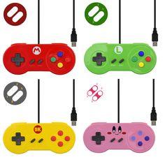 New Nintendo Custom Mario Shell SNES USB Gaming Joystick Pads for Windows/MAC | eBay