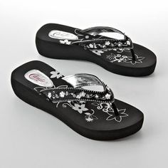 924a88119e9501 Candies Candie s® floral beaded wedge flip-flops - ShopStyle Sandals