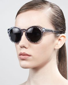 Round Dot-Print Enamel Sunglasses, Oriental Blue by Stella McCartney Sunglasses at Neiman Marcus.